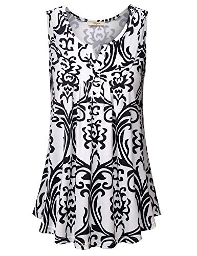 Bebonnie Women Tunic Tops, Juniors Cute Crewneck Button-up Sleeveless Blouse Swing Hem Basic Knit Tunic Dress Tops Youth Novelty Clothes Tunic Tank Blouse White Black Medium