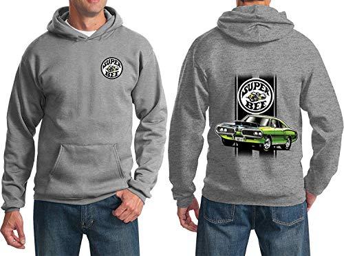 Dodge Green Super BEE Hoodie Sweatshirt (Front & Back), Athletic Heather, - Heather Front
