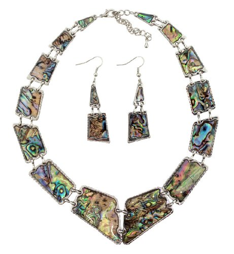 (Natural Abalone Shell Necklace and Dangle Earrings Set, 16