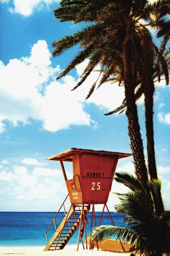 Orange Lifeguard Hut on Beach Decorative Tropical Scenic Travel Photography Poster Print ()
