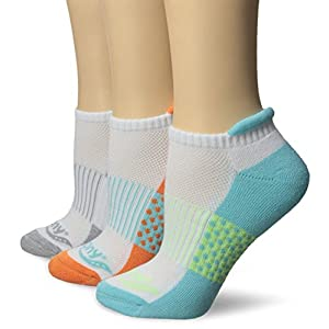 Saucony Women's 3 Pack Polka Dot No Show Athletic Sport Peformance Socks, White Assorted, 9-11/Shoe Size 5-7 (Pack of 3)