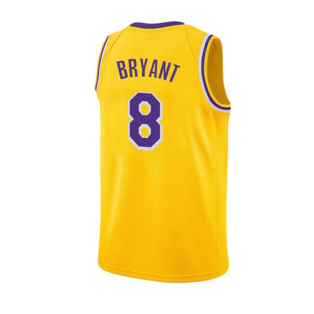 8 Kobe Bryant 24# maglia No maglietta da basket uomo e unisex 8 Kobe Bryant 24# Lakers No Top senza maniche giallo classico