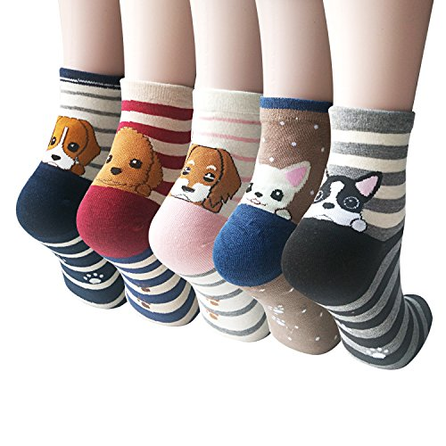 5 Pairs Womens Cute Funny Socks Casual Cotton Crew Animal Socks