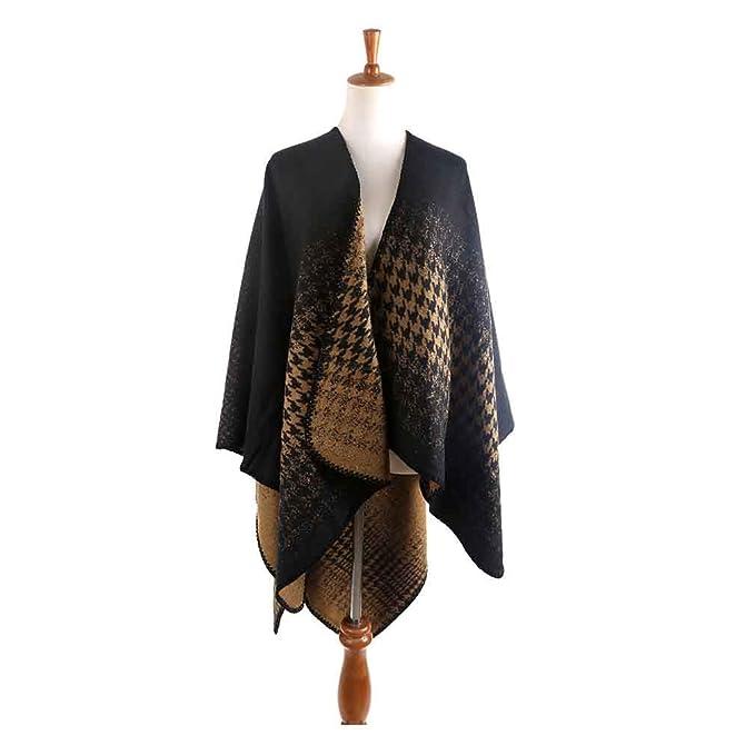 6955c2de2 GERINLY Houndstooth Cloak Scarf Knit Cape Fall Winter Shawl Wrap Scarf Warm  Open Coat (Black