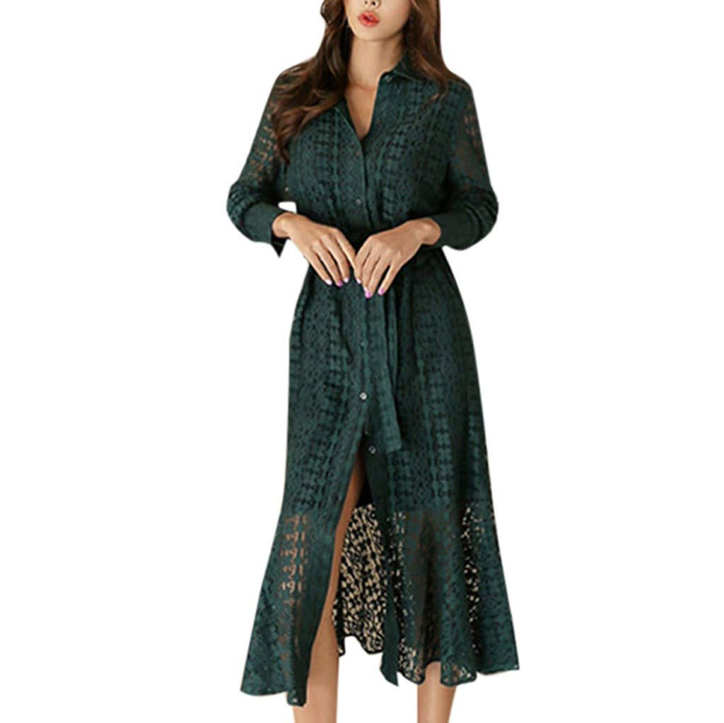Pervobs Women's Casual Maxi Short Sleeve Split Lace Hollow Out Long Dress Sweet & Cute Solid Button Up Blouse Vestido(US: 10, Green)