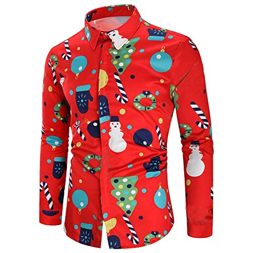 - Sunhusing Men's Santa Claus Snowflake Bells Printed Shirt Top Casual Lapel Single Breasted Work Shirt
