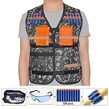 Kids Tactical Vest Sets for Nerf Toy Guns N-strike Elite - Jungle (comes with Seamless Skull Face Mask+Protective Goggles+50pcs Foam Darts+2pcs 5-dart Quick Reload Clip+2pcs Refill Darts Wrist Belt)