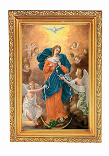 Our Lady Untier of Knots in an Antique Gold Frame with Carved Edge Italian Lithograph Under Glass - Set of 2 Framed (Carved Italian)