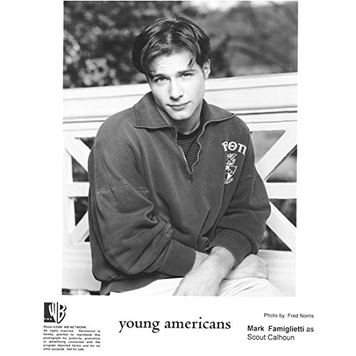 """Mark Famiglietti 8 Inch x 10 Inch Photograph Innocent Americans (TV Series 2000) B&W Arms Crossed on Lap """"as Scout Calhoun"""" kn"""