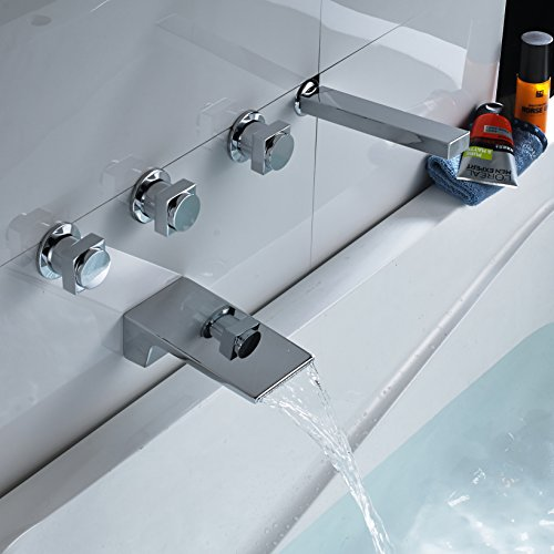 Rozin Wall Mounted 5pcs Waterfall Bathtub Faucet with Handheld Shower Chrome Finish