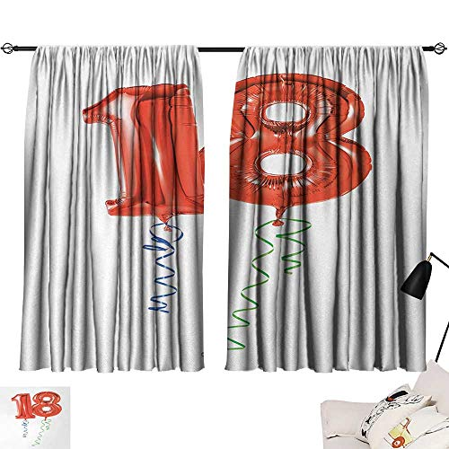 Jinguizi 18th Birthday Two Panels Flying Party Balloons with Curly Ropes 18 Years Old Image Art Print Darkening Darkening Curtains Red Green and Blue W55 x L39 by Jinguizi (Image #6)
