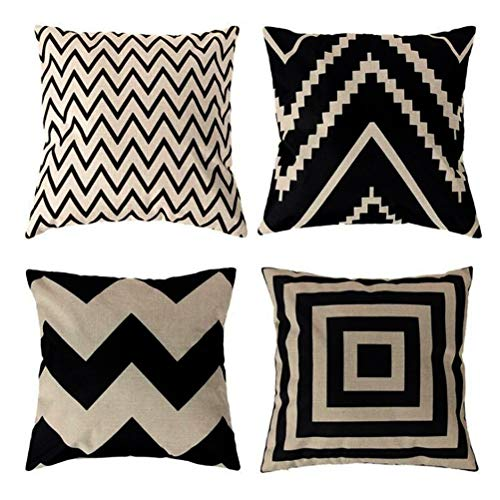 (ULOVE LOVE YOURSELF Square Decorative Throw Pillows Cushion Covers Cotton Linen Black& Beige Stripes Modern Geometry Print Home Pillowcases 18 X 18 Inch,4 Pack(Stripe -1) )