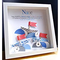 Personalized Name Origin and Meaning Baby Gift Paper Boats Nautical Shadowbox Frame Custom Newborn Baby Shower Gift