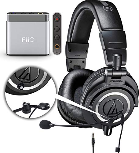 - Audio-Technica ATH-M50x Closed Back Dynamic Headphones Bundle with Antlion Audio ModMic 4 Noise Canceling Attachable Boom Microphone with Mute Switch and FiiO A1 Portable Headphone Amplifier (Silver)