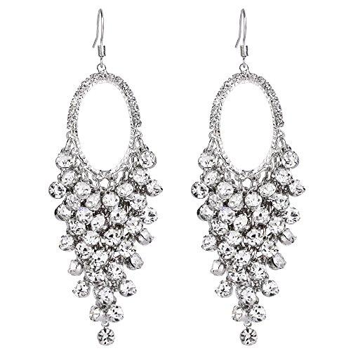 (BriLove Women's Silver-Tone Dangle Earrings Bohemian Boho Crystal Open Hoop Cluster Beads Chandelier Hook Earrings)