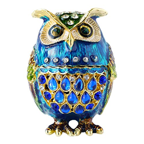 Hand- Painted Owl Trinket Box with Rich Enamel and