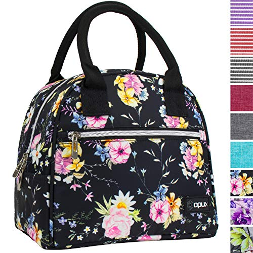 Cheap OPUX Lunch Box for Women   Insulated Lunch Bag for Women Girls  Medium Reusable Soft Flower Lunch Tote Purse Cooler for School, Work, Office   Fits 12 Cans (Floral Black) teen lunch boxes