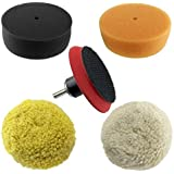 """RamPro 3"""" Car Buffing & Wax Polishing Pad Kit - Drill Attachment Tool with Velcro Wheels"""