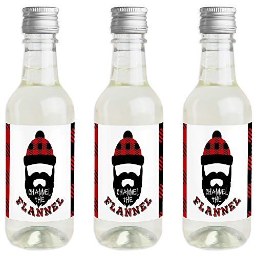 Lumberjack - Channel The Flannel - Mini Wine and Champagne Bottle Label Stickers - Buffalo Plaid Party Favor Gift for Women and Men - Set of 16