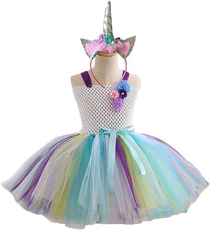 PRETYZOOM Gonne Tutu per Ragazze con Fascia per Unicorno Rainbow Princess Tutu Outfit per 6-10 Anni