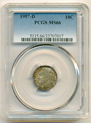 1957 D Roosevelt Dime MS66 PCGS
