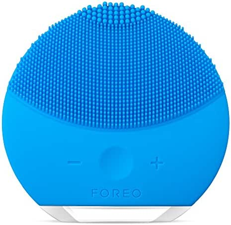 FOREO LUNA mini 2 Facial Cleansing Brush and Portable Skin Care device made with Ultra Hygienic Soft Silicone for Every Skin Type USB Rechargeable Aquamarine