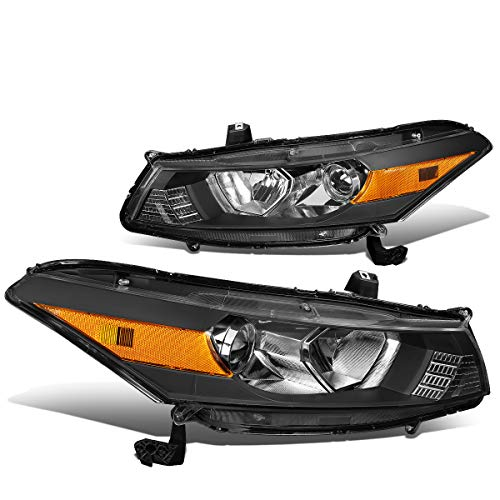 Pair Black Housing Amber Corner Headlight/Headlamps for 08-12 Honda Accord 2-DR Coupe