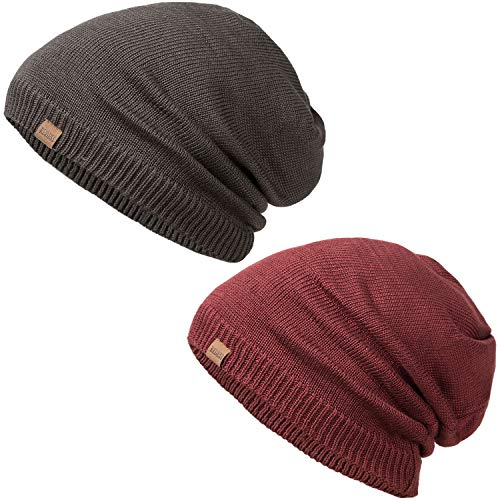 REDESS Slouchy Long Oversized Beanie Hat for Women and Men, Variy Styles and Colors Fleece Lined Winter Warm Knit Cap (Black) (Live Simply Hat)