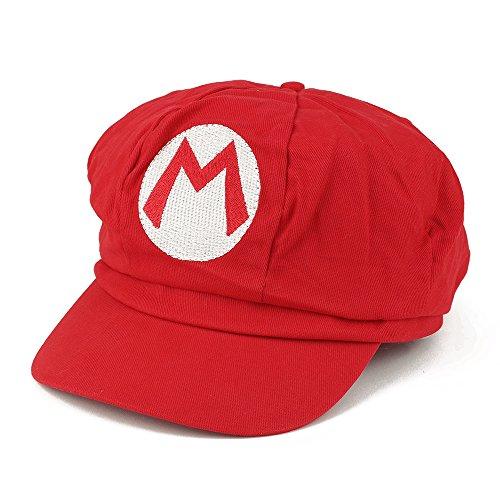 Armycrew Mario Luigi Wario Waluigi Fire Mario Embroidered Costume Newsboy Hat - Mario Red -