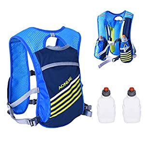 Triwonder Outdoors Mochilas Trail Marathoner Running Race Hydration Vest Hydration Pack Backpack with 2 Water Bottles (Blue)