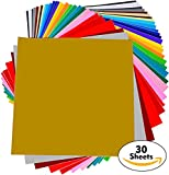 """Arts & Crafts : Permanent Adhesive Backed Vinyl Sheets - PrimeCuts - 30 SHEETS 12"""" x 12"""" - 30 Assorted Color Sheets for Cricut, Silhouette Cameo, and Other Craft Cutters"""