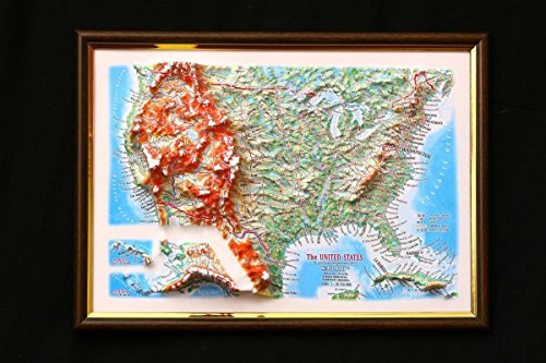(United States Map 3D Raised Relief Framed USA Map Amazing Decorative Bird's-Eye View)
