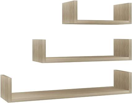 42cm Casashelf Juego de 3 estantes de Pared de Roble MDF 22//32