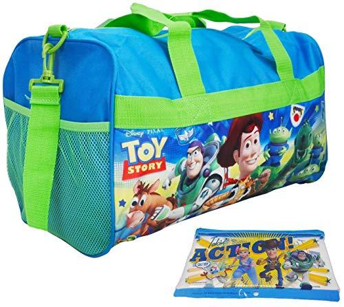 (Toy Story Duffel Bag & Zipper Pouch - 2 Piece Travel Set - Woody, Buzz Lightyear)