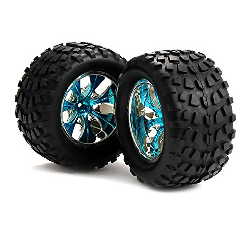 Generic Plastic Wheel Rims and Rubber Tires 7 Spoke for 1:10 Truck Bigfoot Car Blue Plating Pack of 4