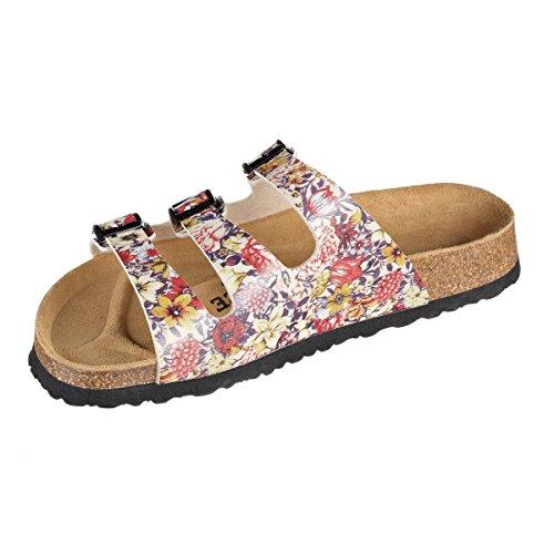 N Soft JOYCE SynSoft Sandals Red Beige Paris Narrow Footbed Flower JOE BawqF7w