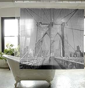 Travel Destinations - VINYL Shower Curtain - Brooklyn Bridge