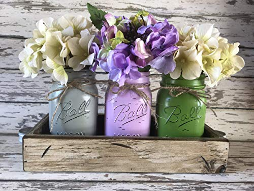 Mason JARS in Wood Antique White Tray Centerpiece with 3 Ball Pint Jar -Kitchen Table Decor Distressed Rustic -Spring Flowers (Optional) -SOFT GRAY, LAVENDER PURPLE, PALM GREEN Painted Jars (Pictured)