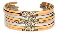 Simply Mantra Inspirational Adjustable Cuff Band, 20 Bracelet Phrases to Select From in Silver, Gold or Rose Gold 316 L Stainless Steel