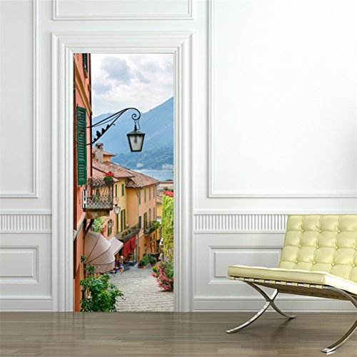 - 3D Door Wallpaper Murals Wall Stickers-Old Town for Home Decoration Self-Adhesive Vinyl Removable Retro Art Door Decals 30.3x78.7