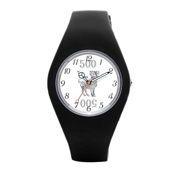 Zodiac Reloj Deportivo de Silicona Diseño Signo Aries Ram negro de goma relojes: Amazon.es: Relojes