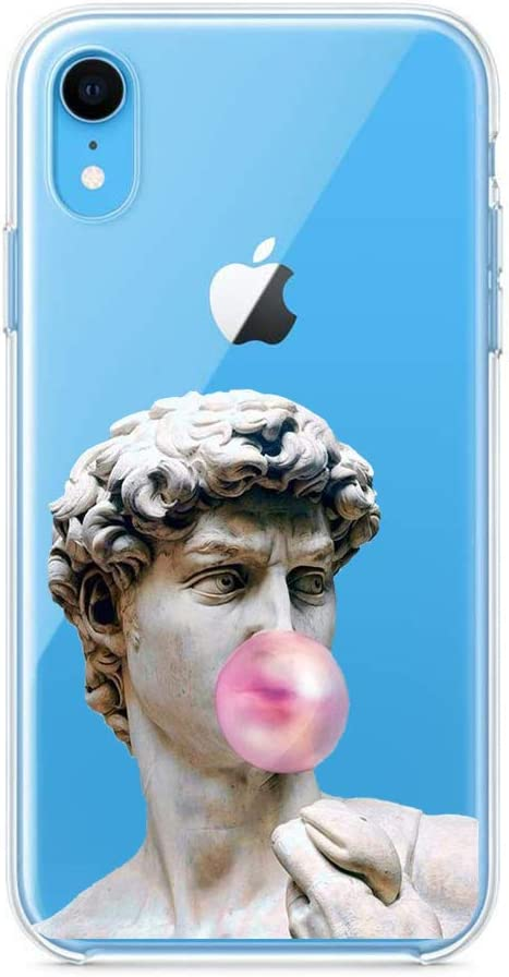 Amazon Com Lalapopo For Iphone Xr David Statue Bubblegum Case Aesthetic Transparent Clear Design Soft Tpu Slim Flexible Silicone Cover Phone Case For Girls Wome