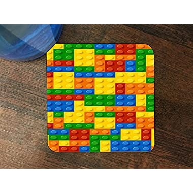 Colorful Bricks Design Print Image Silicone Drink Beverage Coaster 4 Pack by Trendy Accessories