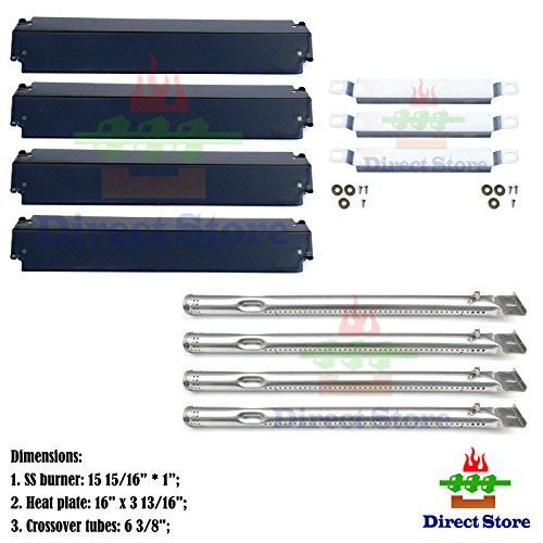Direct store Parts Kit DG149 Replacement Charbroil 463247310,463257010 Gas Grill Burner,Crossover Tubes,Heat Shield-4 pack (SS Burner + SS Carry-over tubes + Porcelain Steel Heat Plate) (Burners Replacement Porcelain)