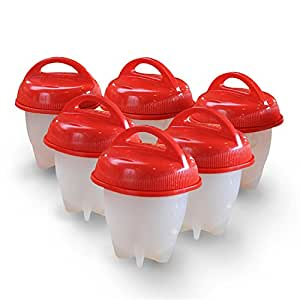 Egg Cooker Hard Soft Maker BPA Free Non Stick Silicone Boiled Eggs Without the Shell Pack of 6
