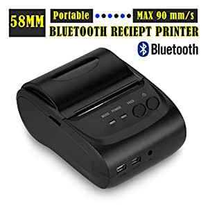 Excelvan® Bluetooth inalámbrica de la impresora térmica de recibos para android basa teléfono móvil o tabletas, 58mm inalámbrica Bluetooth portátil ...