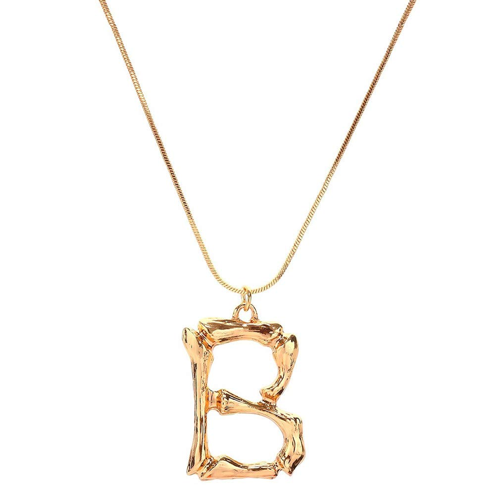 Clearance Oillian Women 26 English Letter Name Gorgeous Chain Jewelry Pendant Fancinating Torque Necklaces Gift for Lady Friends Teens (B)
