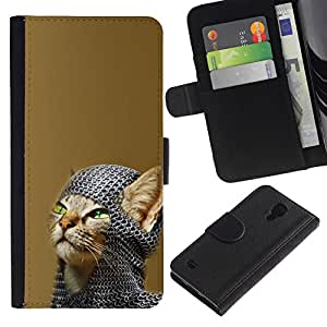 All Phone Most Case / Oferta Especial Cáscara Funda de cuero Monedero Cubierta de proteccion Caso / Wallet Case for Samsung Galaxy S4 IV I9500 // Chainmail Warrior Cat