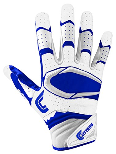 Cutters Gloves Rev Pro 2.0 Receiver Football Gloves, White/Royal, Small