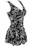 ECOFUN Women's Plus-Size Flower Printing Shaping Body One Piece Swim Dresses Swimsuit